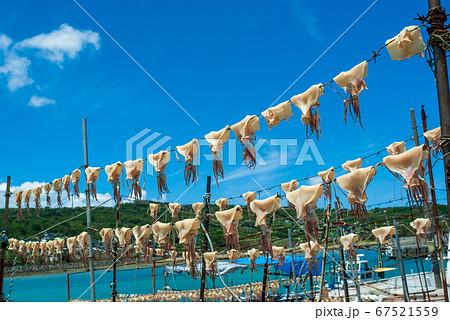 沖縄の観光地、奥武島の夏の風物詩の青空に天 67521559