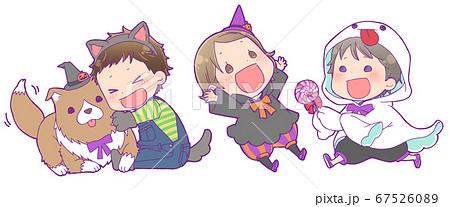 ハロウィン仮装の子供たち_狼男・魔女・ゴースト 67526089