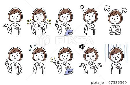 ベクターイラスト素材:若い女性看護師セット、コレクション 67526549