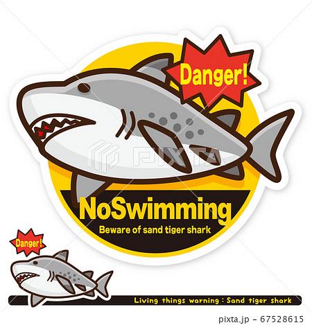 いきもの注意報:サメ(シロワニ)遊泳禁止サイン(英語) 67528615