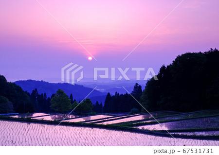 棚田の夜明け(奈良県山辺郡山添村) 67531731