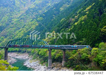 N2000系・2000系気動車6両で第二吉野川橋りょうを通過する特急南風 67536447