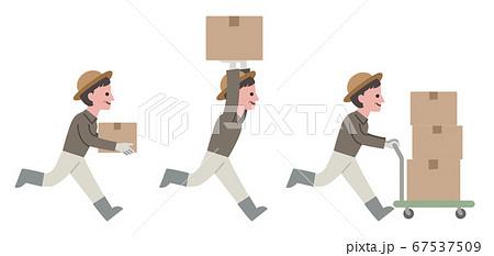 農作物を運ぶコミカルな農家 67537509