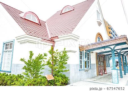 【駅風景】関東の駅百選のJR国立駅の旧駅舎【色鉛筆】 67547652
