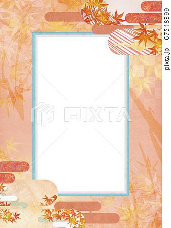 和紙の風合いを感じる背景イラスト-秋、紅葉の季節感【XL-A3 350dpi】 67548399
