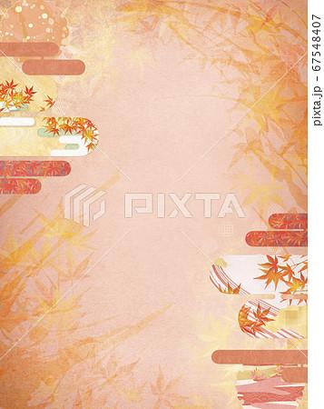 和紙の風合いを感じる背景イラスト-秋、紅葉の季節感【4:3】 67548407