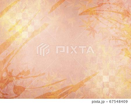 和紙の風合いを感じる背景イラスト-秋、紅葉の季節感【4:3】 67548409