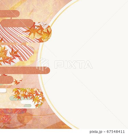 和紙の風合いを感じる背景イラスト-秋、紅葉の季節感【1:1】 67548411