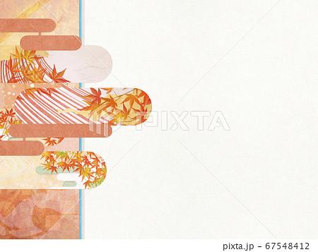 和紙の風合いを感じる背景イラスト-秋、紅葉の季節感【4:3】 67548412