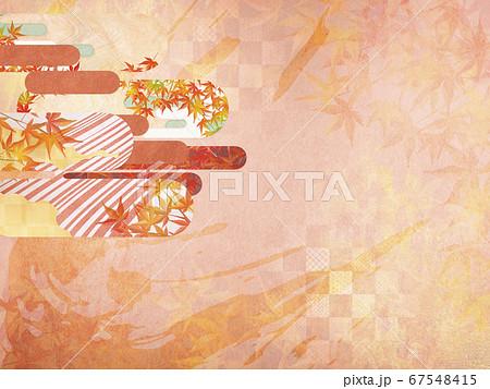 和紙の風合いを感じる背景イラスト-秋、紅葉の季節感【4:3】 67548415