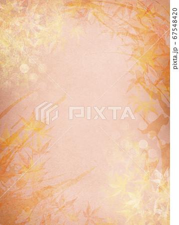 和紙の風合いを感じる背景イラスト-秋、紅葉の季節感【4:3】 67548420