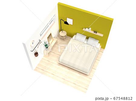 目覚めのよい明るいベッドルームでリラックス【俯瞰】 67548812