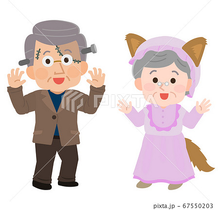高齢夫婦 仮装 ハロウィンパーティ イラスト 67550203