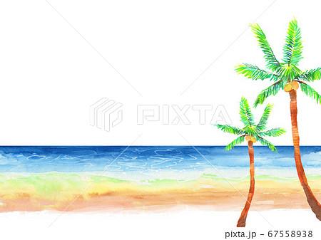 水彩で描いた海とヤシの木のイラスト  67558938