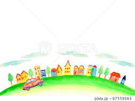 水彩で描いた街並みと車のイラスト 67559363