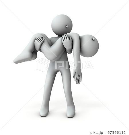 重体の患者を抱きかかえて運ぶキャラクター。3Dレンダリング。 67566112