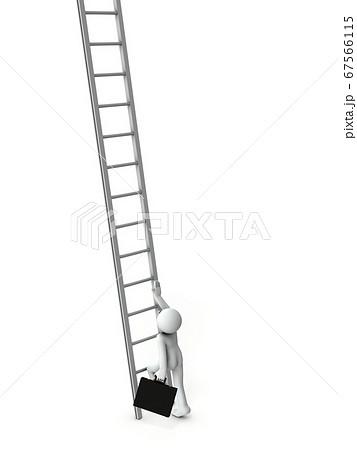 未知の階段をのぼりはじめようとするビジネスマン。3Dレンダリング。 67566115