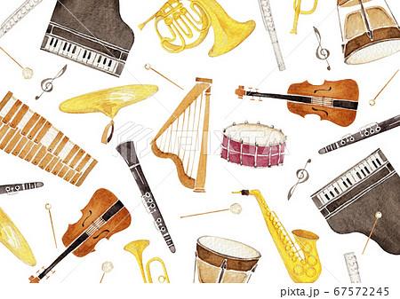 楽器 オーケストラ 背景 テキスタイル 水彩 イラスト 67572245