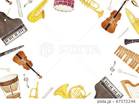 楽器 オーケストラ 背景 フレーム 水彩 イラスト 67572246
