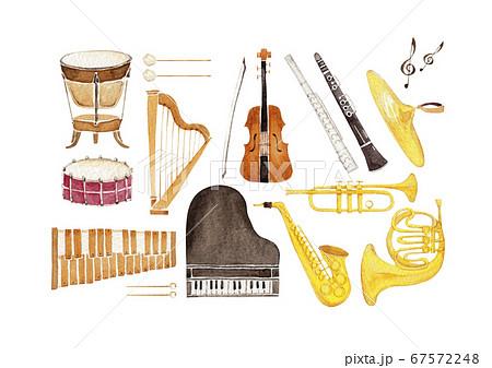 楽器 オーケストラ アイコン セット 水彩 イラスト 67572248