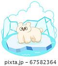 氷の上のホッキョクグマ手描きイラスト 67582364