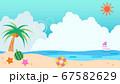 夏の海辺背景イラスト素材 67582629