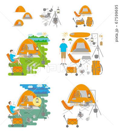 キャンプをする男性セット 67599695