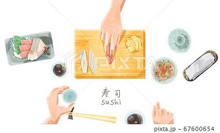 寿司屋カウンター水彩タッチイラスト 67600654