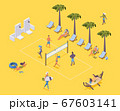 Isometric beach volleyball with players and 67603141