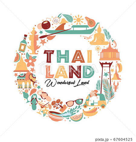Collection of Thailand symbols in wreath. Vector poster. Postcard in trend color. Travel illustration. Web banner of travel in circle composition. 67604525