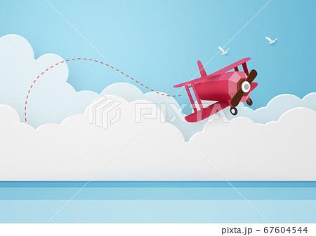 ペーパークラフト-空-雲-海-飛行機 67604544
