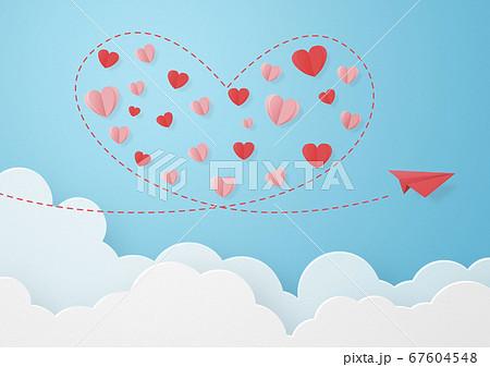 ペーパークラフト-空-雲-紙飛行機-ハート 67604548