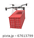 3d rendering of drone lifting red shipping container isolated on white background 67613799