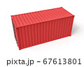 3d rendering of closed red cargo container isolated on white background. 67613801