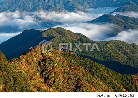 奥秩父・両神山から見る紅葉の山並みと雲海 67615963