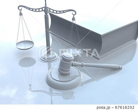 白い司法イメージ 小槌(ガベル) 天秤 六法全書 3DCGイラスト 67616202