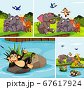 Set of happy wild animal in nature background 67617924