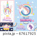 Cute unicorn banner on pastel background color 67617925