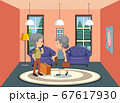 Background scene old couple staying at home 67617930