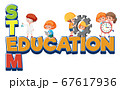 Stem education logo with kids wearing engineer 67617936