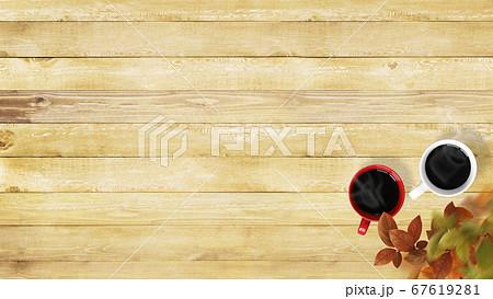 木製のテーブルとコーヒー 67619281