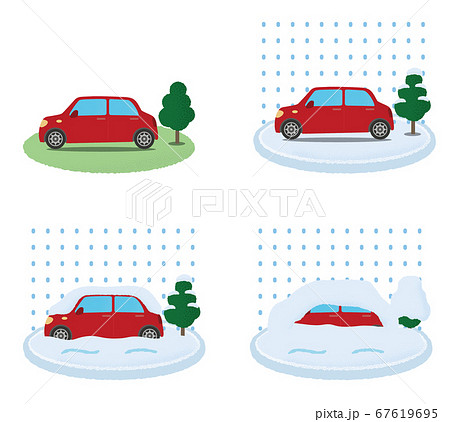 大雪の被害に遭う赤い自動車のベクターイラストセット 67619695