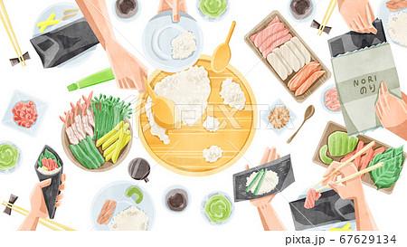 手巻き寿司ホームパーティーイラスト 67629134