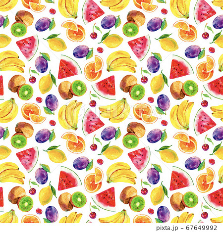 Seamless watercolour fruits pattern. Bright summer 67649992