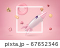 3d rendering of silvery and light pink space rocket floating through white frame on light pink background, with lots of geometric shapes flying around. 67652346