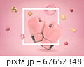 3d rendering of pink boxing gloves with random objects on pink background 67652348