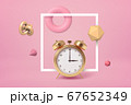 3d rendering of golden alarm clock standing, highlighted with square white frame, on pastel pink background, with different geometric objects floating around. 67652349