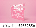 3d rendering of pink movie clapper on pink background 67652350