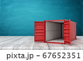3d rendering of open empty red shipping container on white wooden floor and dark turquoise background 67652351
