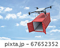 3d rendering of camera quadcopter carrying small open empty red cargo container in blue sky. 67652352